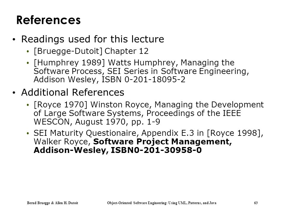 References Readings used for this lecture Additional References