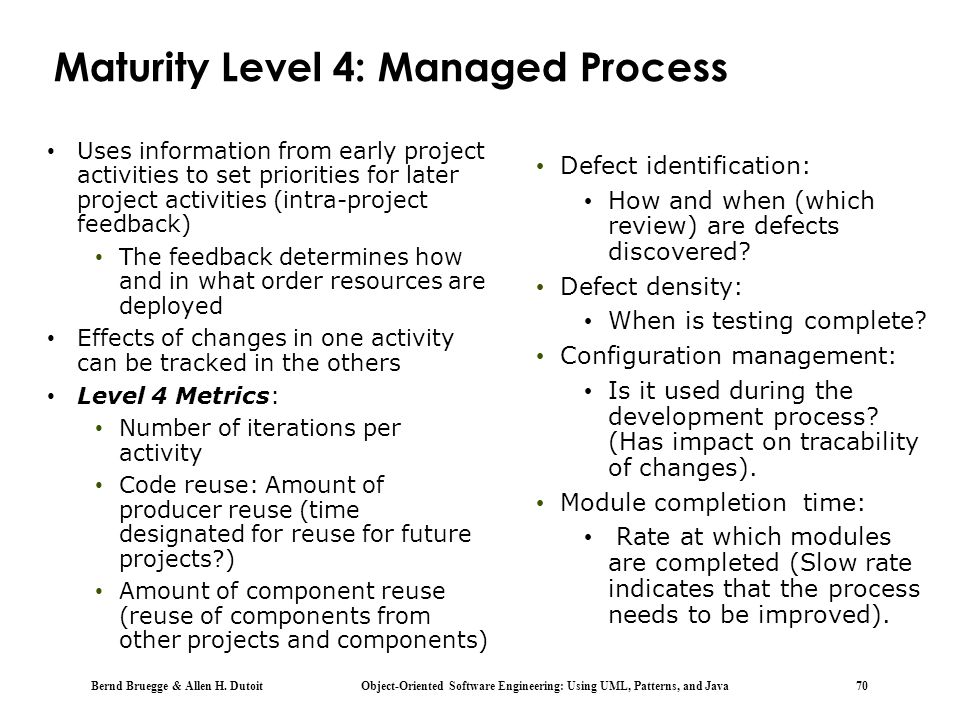 Maturity Level 4: Managed Process