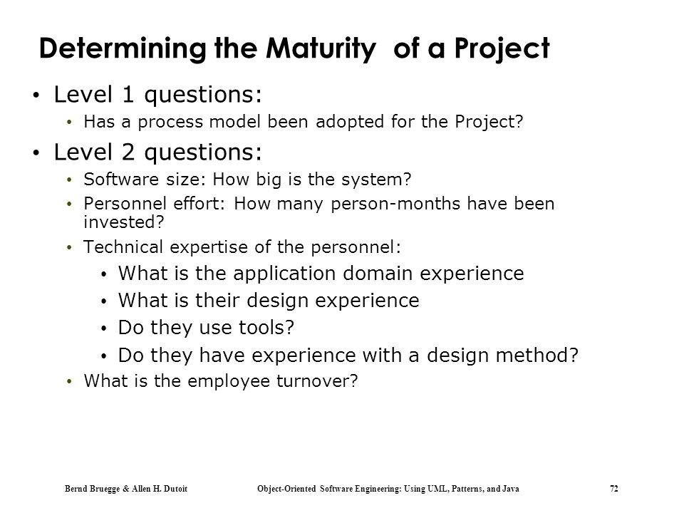 Determining the Maturity of a Project