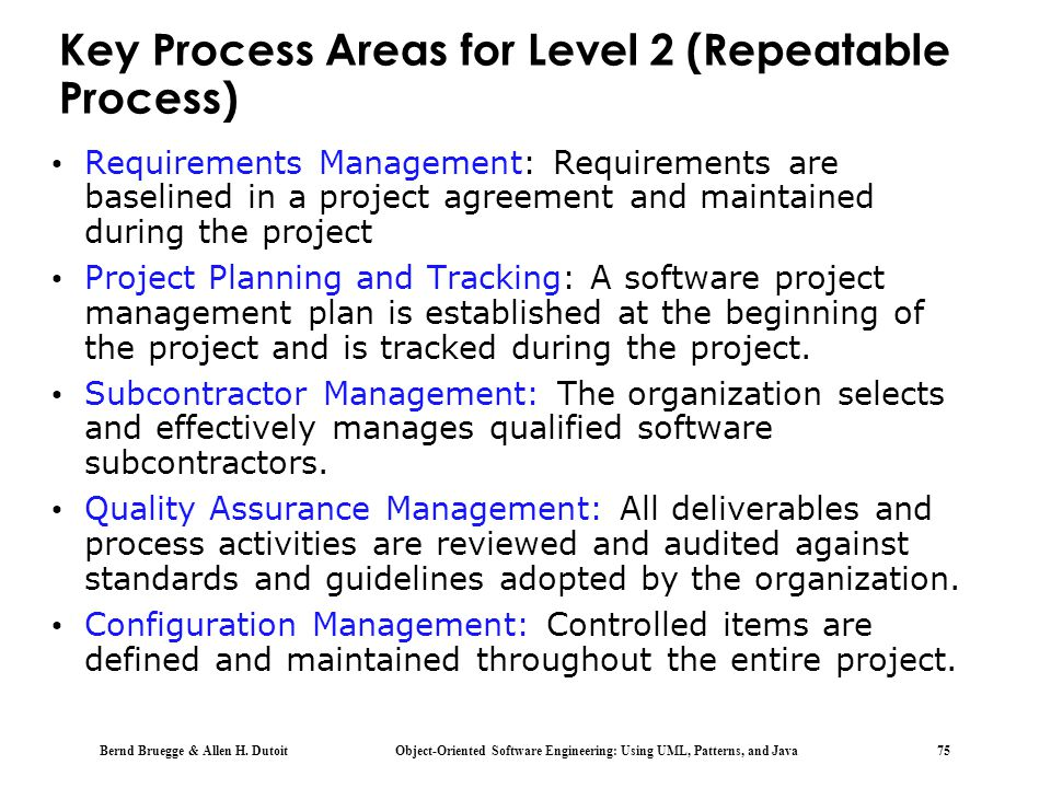 Key Process Areas for Level 2 (Repeatable Process)