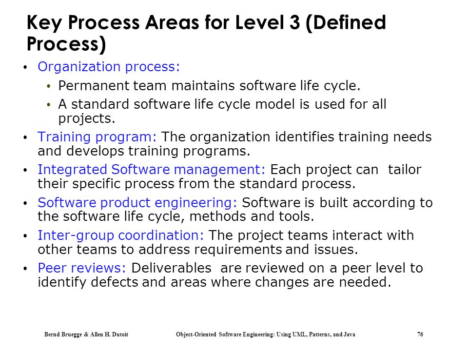 Key Process Areas for Level 3 (Defined Process)