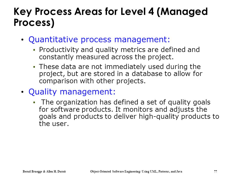 Key Process Areas for Level 4 (Managed Process)