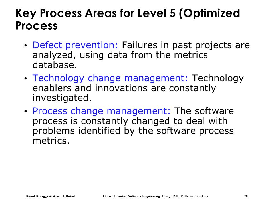 Key Process Areas for Level 5 (Optimized Process