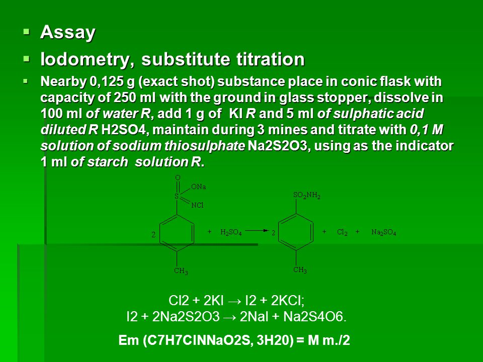 Iodometry, substitute titration