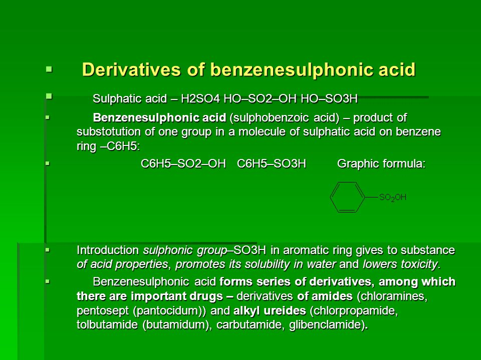 Derivatives of benzenesulphonic acid