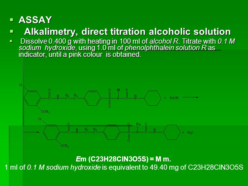 Alkalimetry, direct titration alcoholic solution