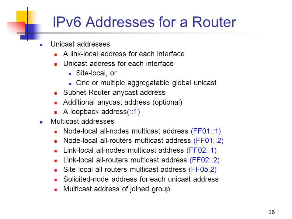 IPv6 Addresses for a Router