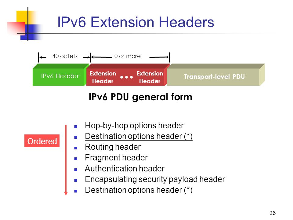 IPv6 Extension Headers IPv6 PDU general form Hop-by-hop options header