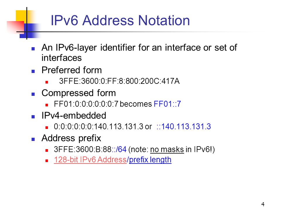 IPv6 Address Notation An IPv6-layer identifier for an interface or set of interfaces. Preferred form.