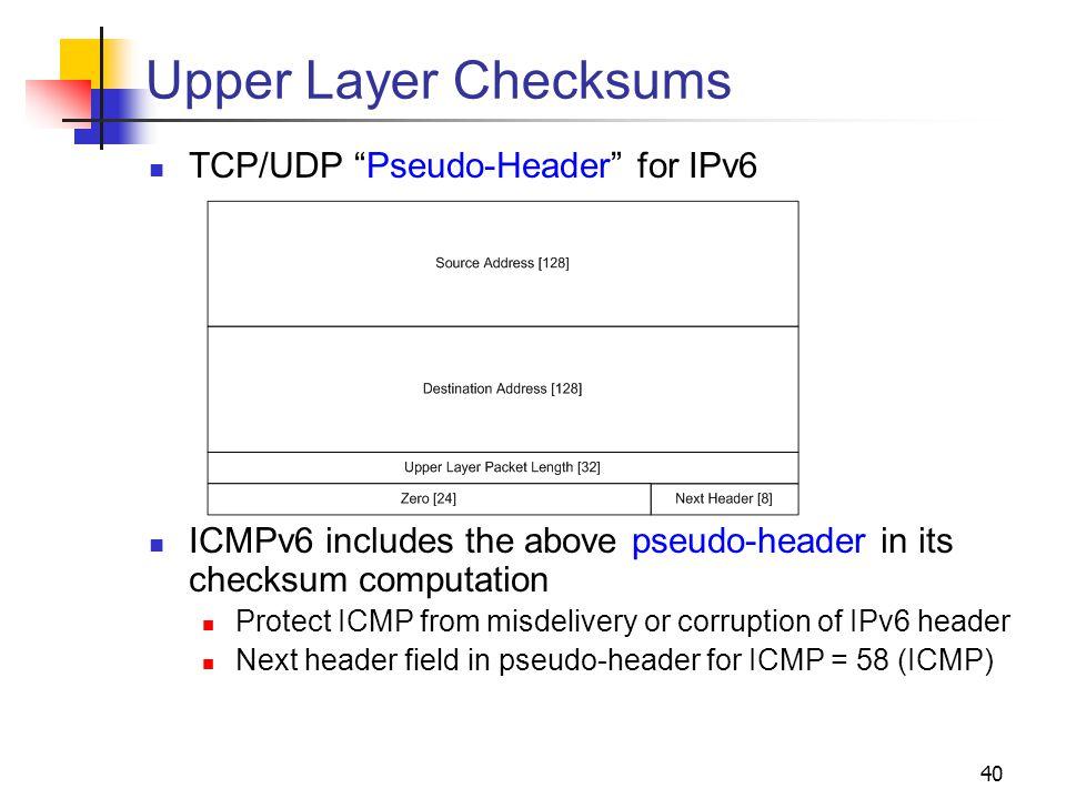 Upper Layer Checksums TCP/UDP Pseudo-Header for IPv6