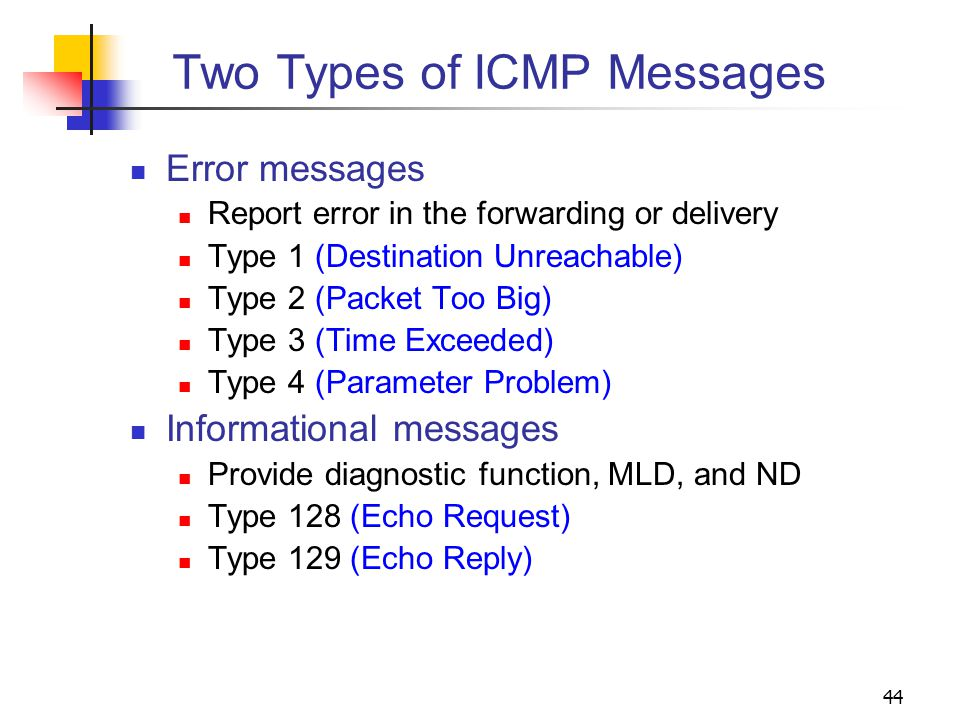 Two Types of ICMP Messages