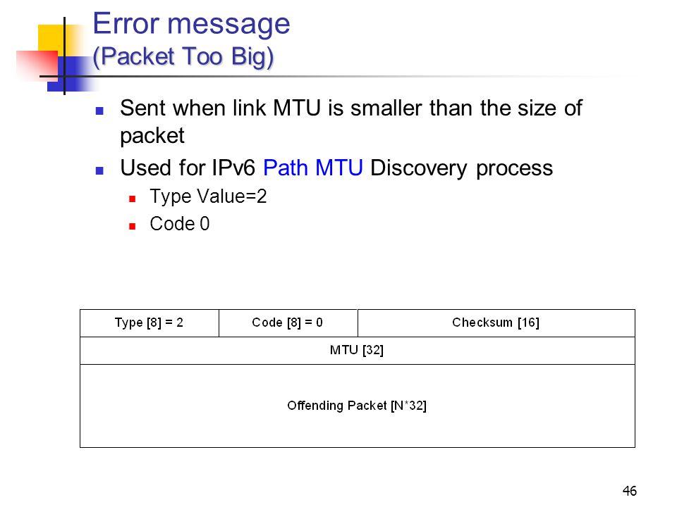 Error message (Packet Too Big)