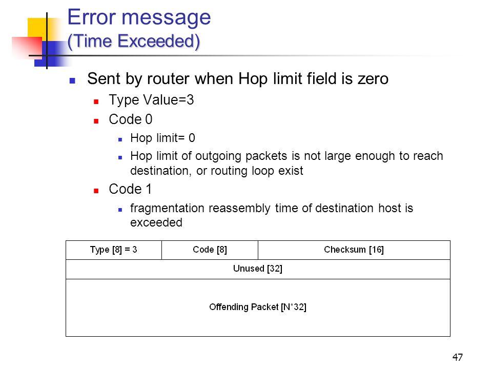 Error message (Time Exceeded)
