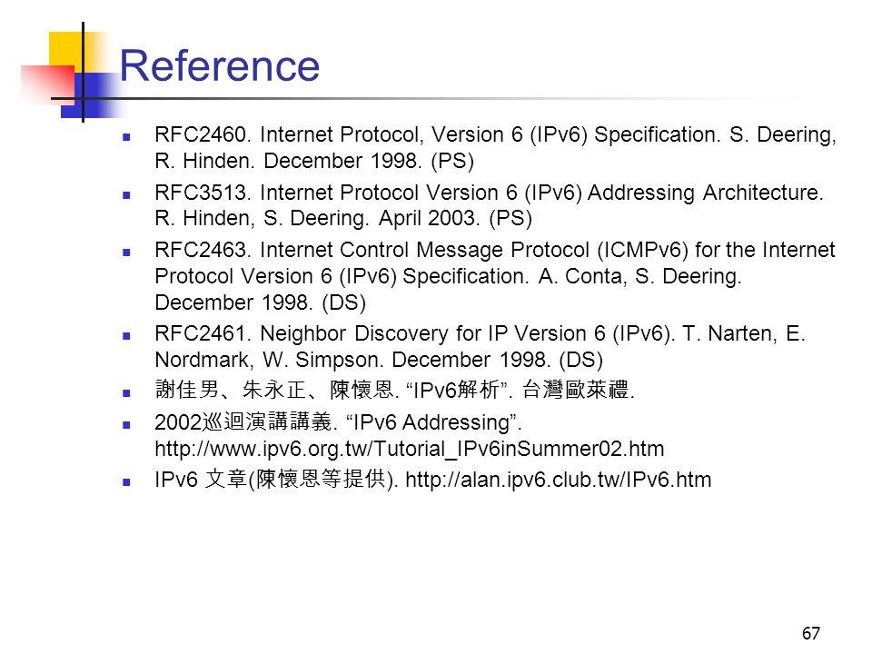 Reference RFC2460. Internet Protocol, Version 6 (IPv6) Specification. S. Deering, R. Hinden. December 1998. (PS)