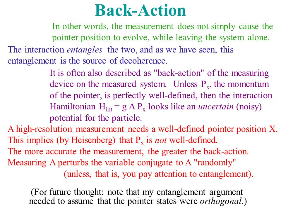 Back-Action In other words, the measurement does not simply cause the