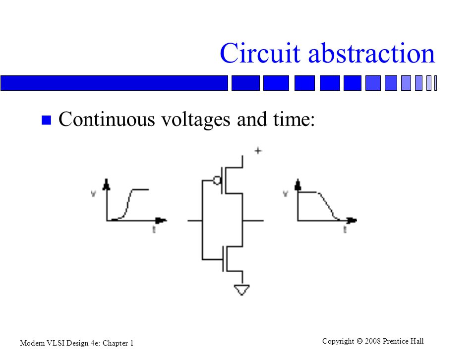Circuit abstraction Continuous voltages and time: