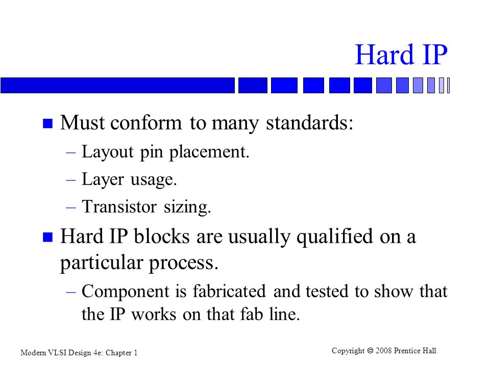 Hard IP Must conform to many standards: