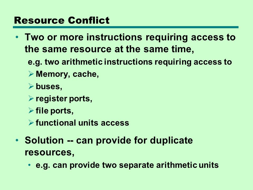 Solution -- can provide for duplicate resources,