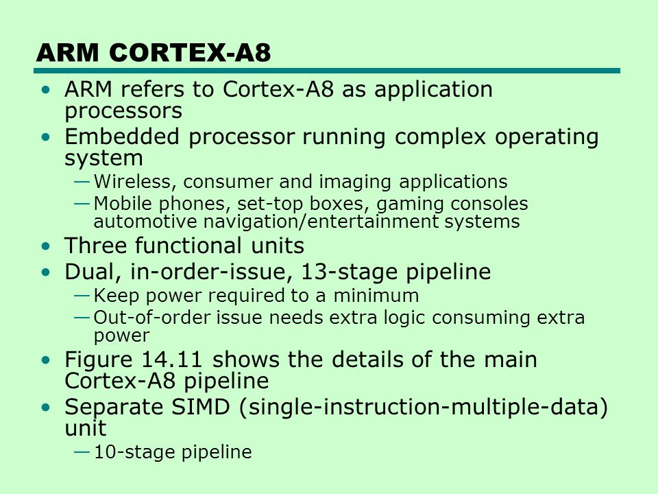 ARM CORTEX-A8 ARM refers to Cortex-A8 as application processors