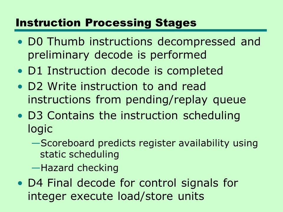 Instruction Processing Stages