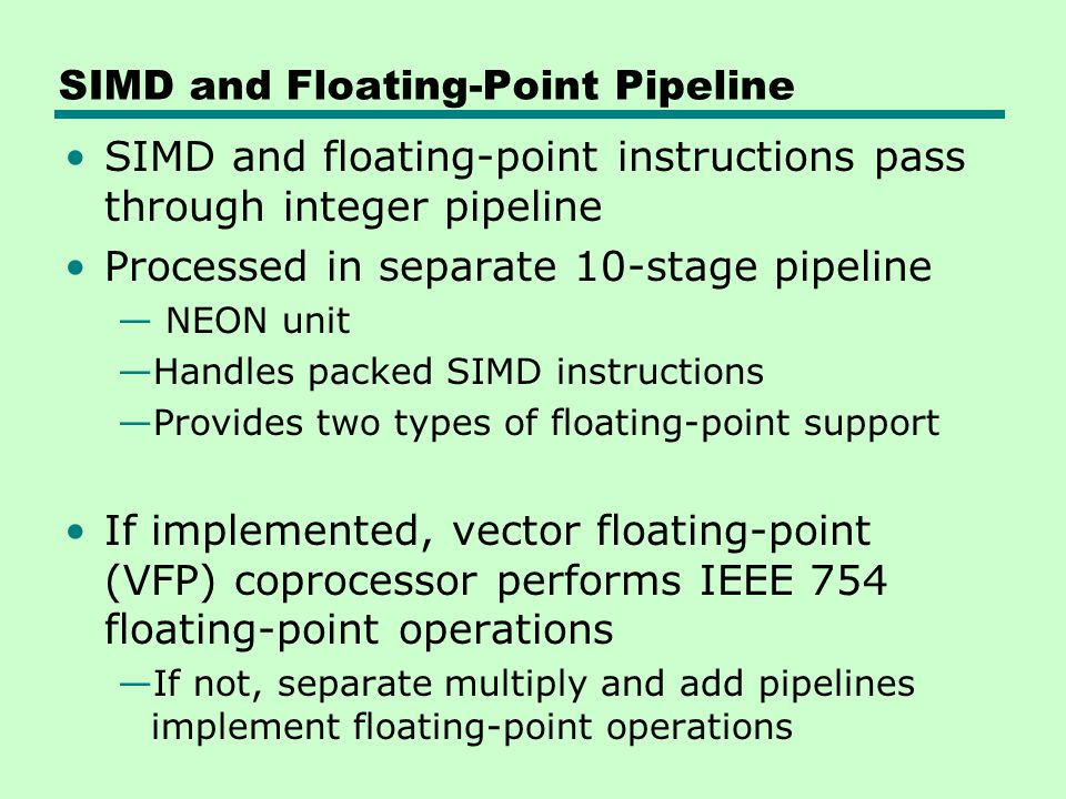 SIMD and Floating-Point Pipeline