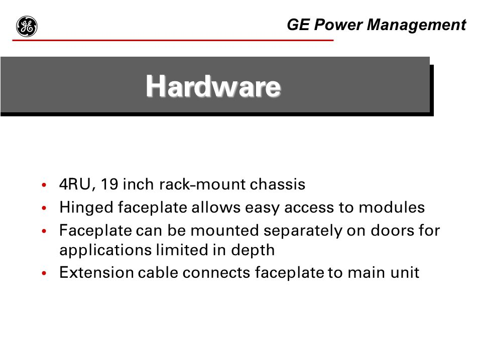 g Hardware GE Power Management 4RU, 19 inch rack-mount chassis