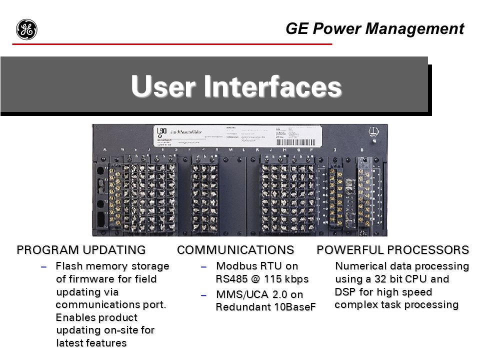 g User Interfaces GE Power Management PROGRAM UPDATING COMMUNICATIONS