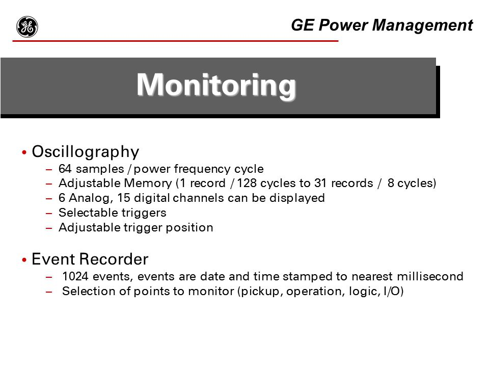g Monitoring GE Power Management Oscillography Event Recorder