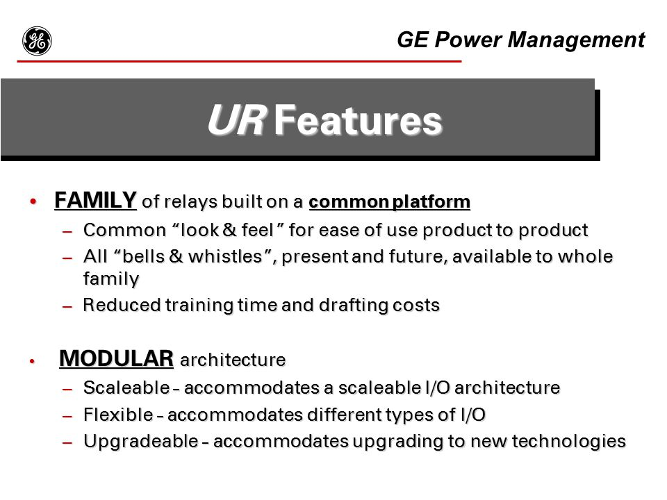 g UR Features GE Power Management