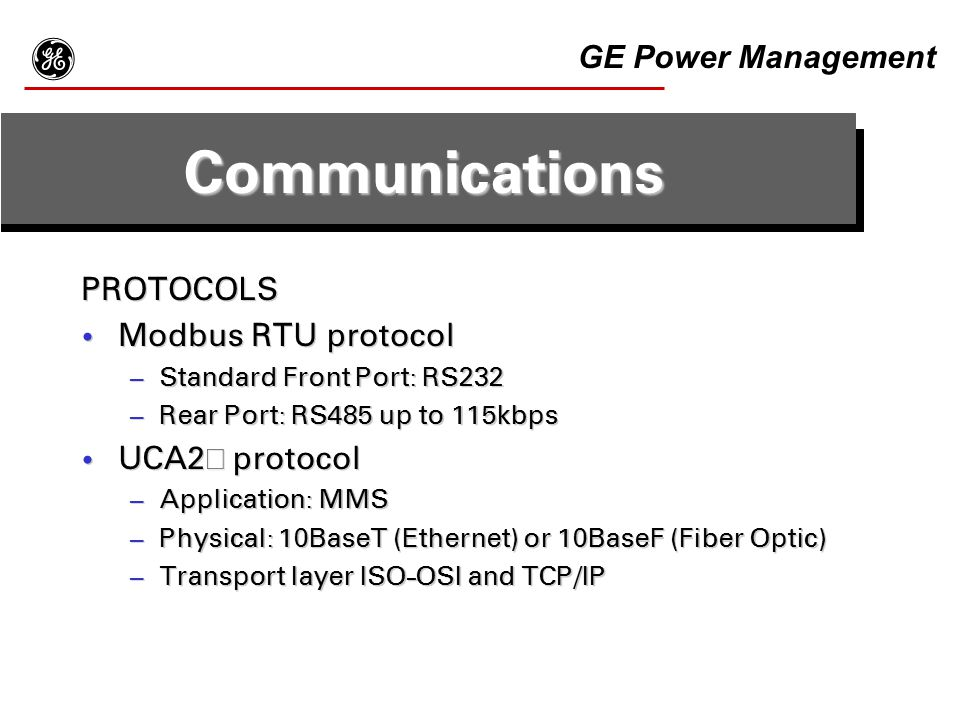 g Communications GE Power Management PROTOCOLS Modbus RTU protocol