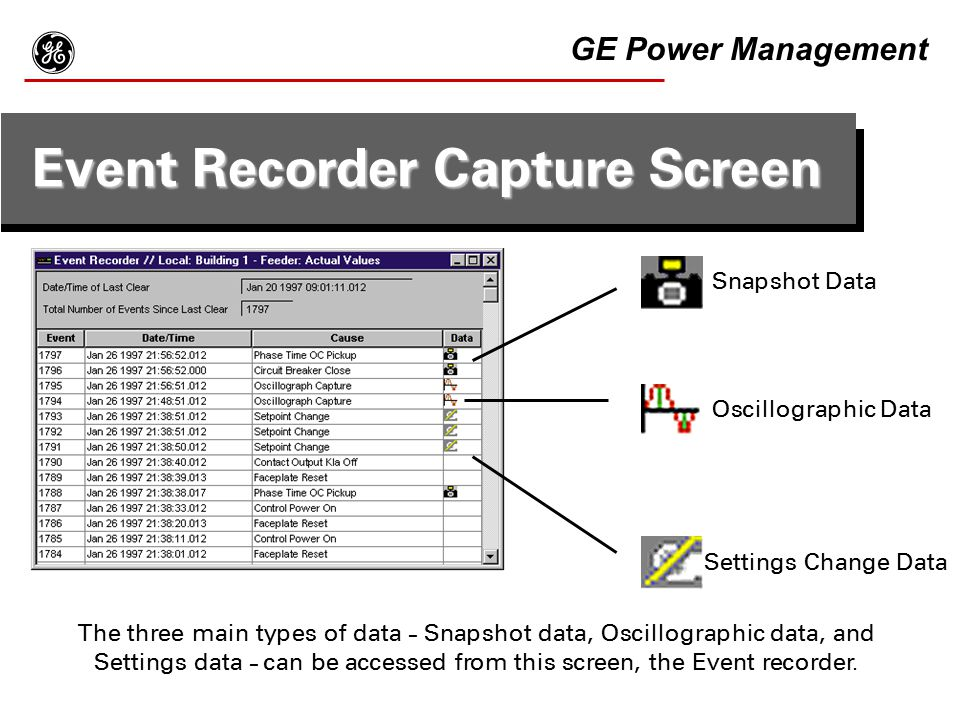 Event Recorder Capture Screen