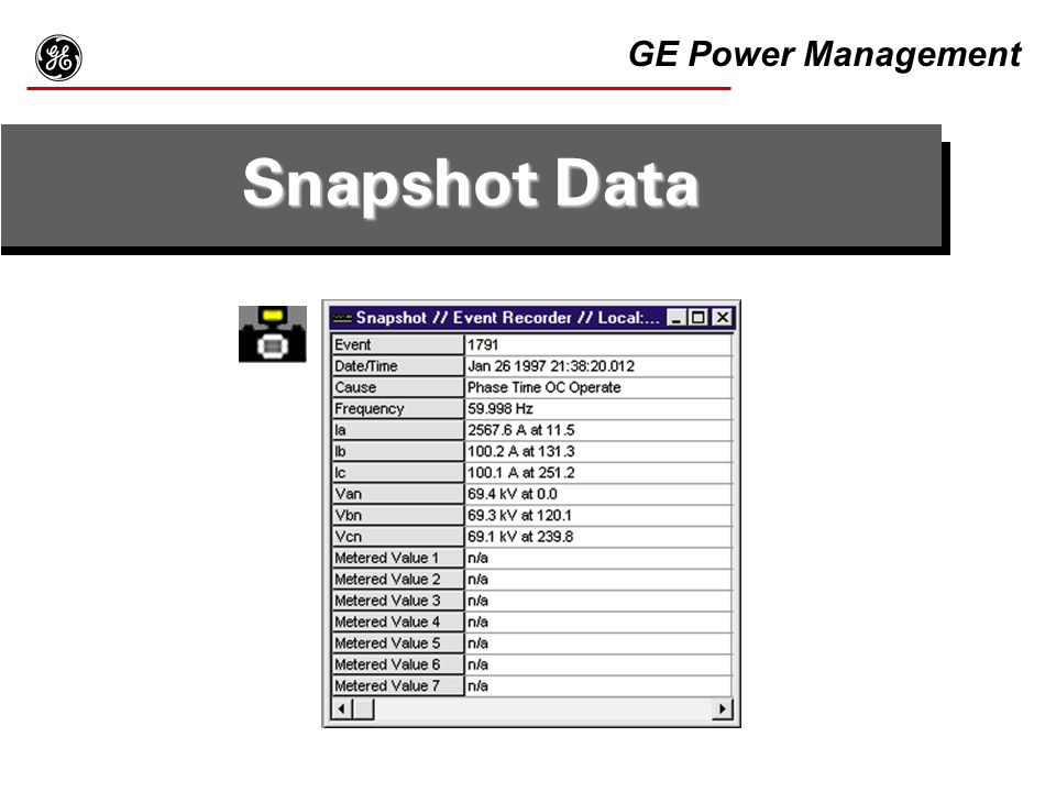 g GE Power Management Snapshot Data Example of the F30PC program.