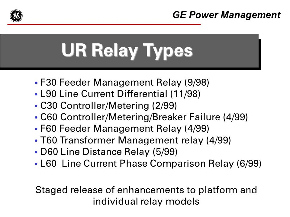 Staged release of enhancements to platform and individual relay models