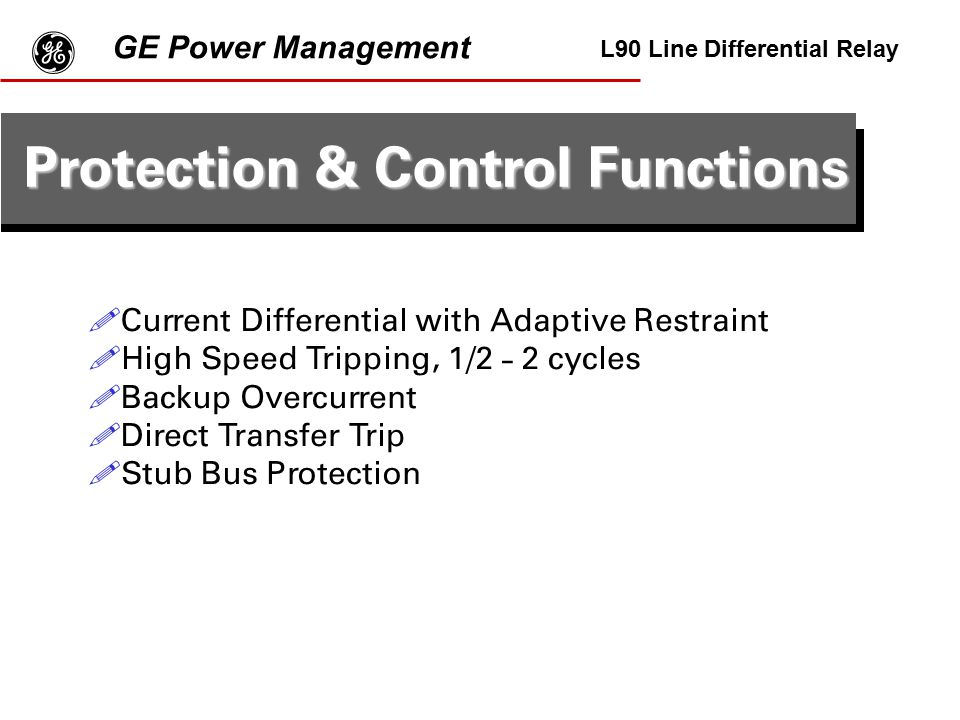 g Protection & Control Functions GE Power Management