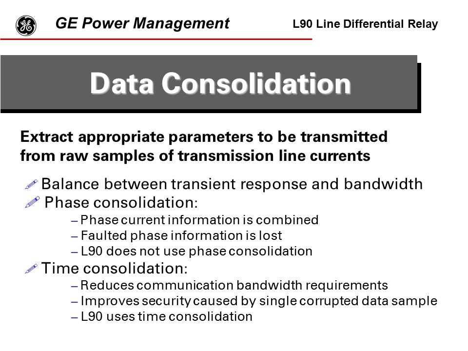 g Data Consolidation GE Power Management