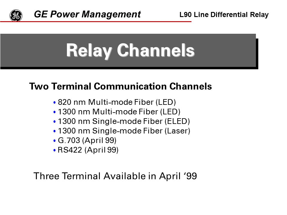 g Relay Channels GE Power Management