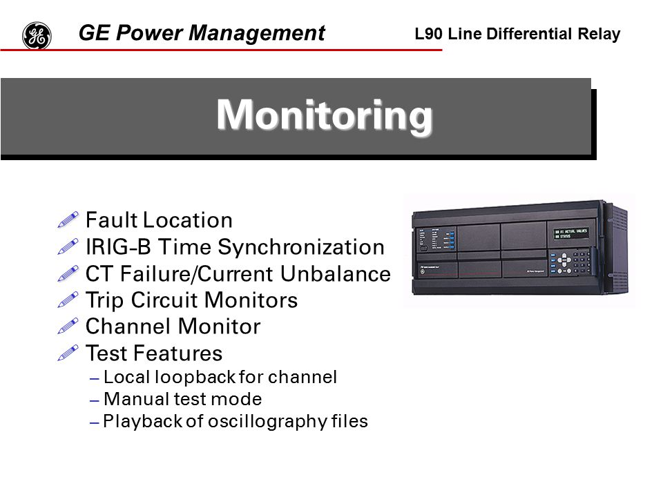 g Monitoring GE Power Management Fault Location