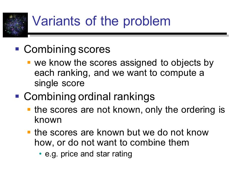 Variants of the problem