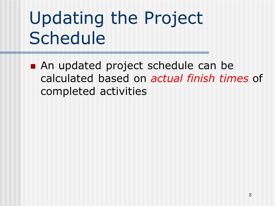 Updating the Project Schedule
