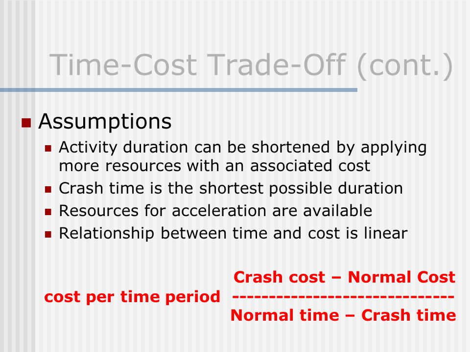 Time-Cost Trade-Off (cont.)