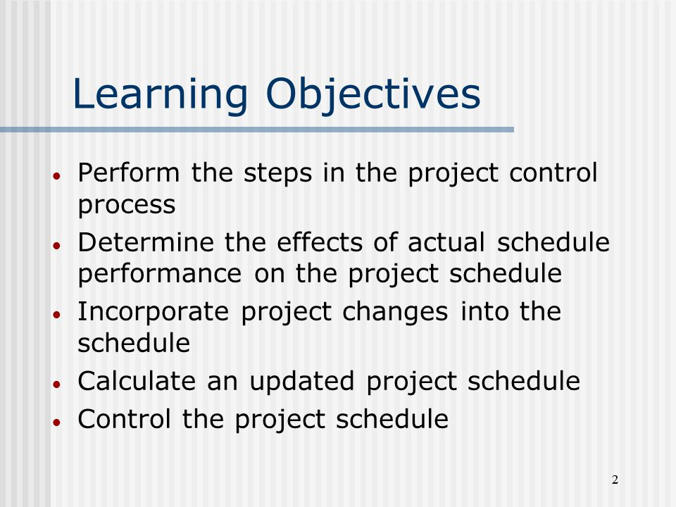 Learning Objectives Perform the steps in the project control process