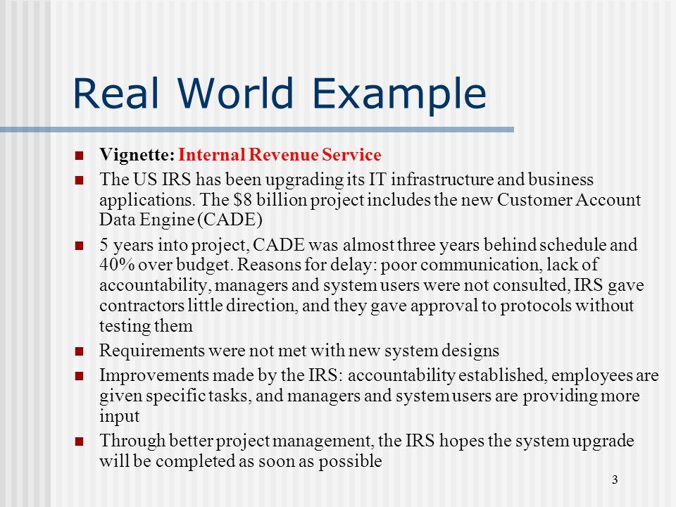 Real World Example Vignette: Internal Revenue Service