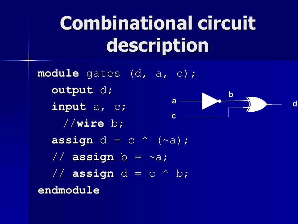 Combinational circuit description