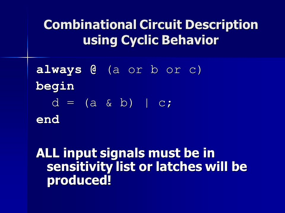 Combinational Circuit Description using Cyclic Behavior