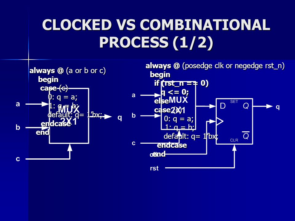 CLOCKED VS COMBINATIONAL PROCESS (1/2)