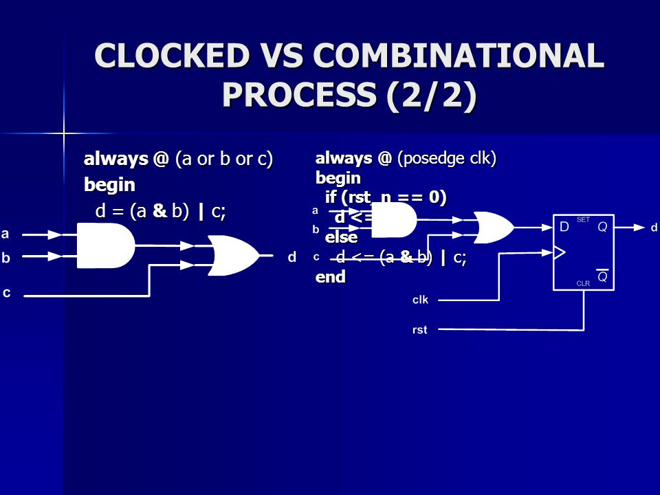 CLOCKED VS COMBINATIONAL PROCESS (2/2)