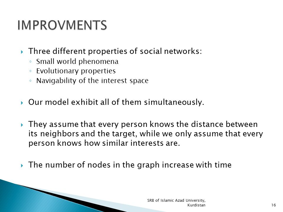 IMPROVMENTS Three different properties of social networks: