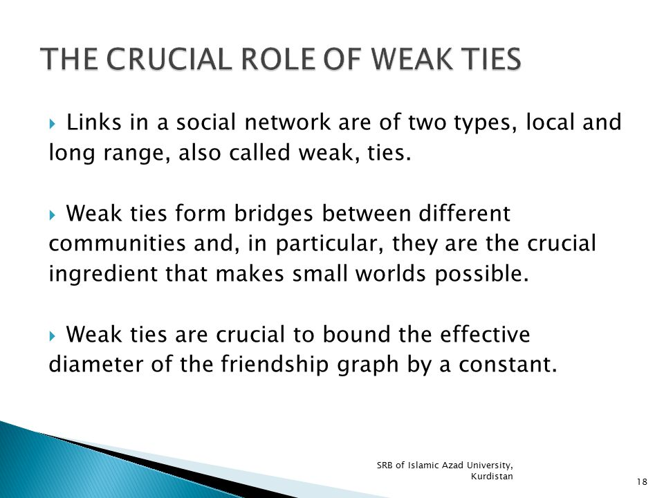 THE CRUCIAL ROLE OF WEAK TIES