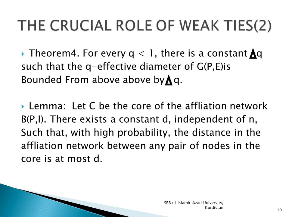 THE CRUCIAL ROLE OF WEAK TIES(2)