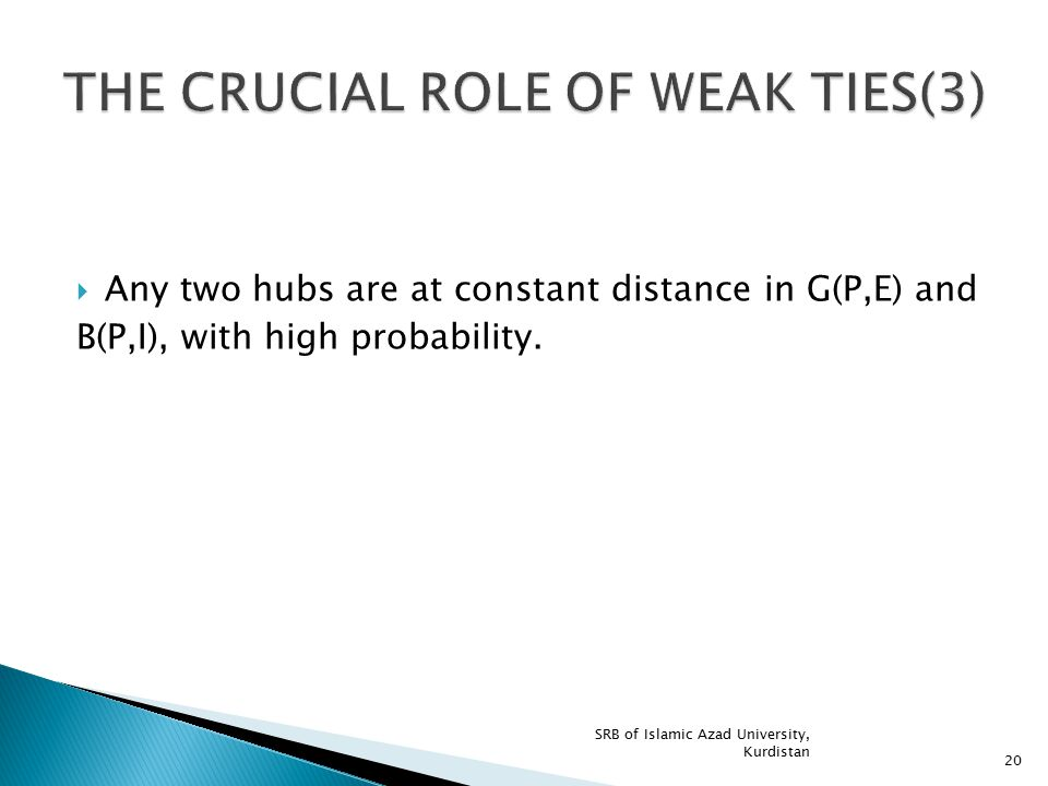 THE CRUCIAL ROLE OF WEAK TIES(3)